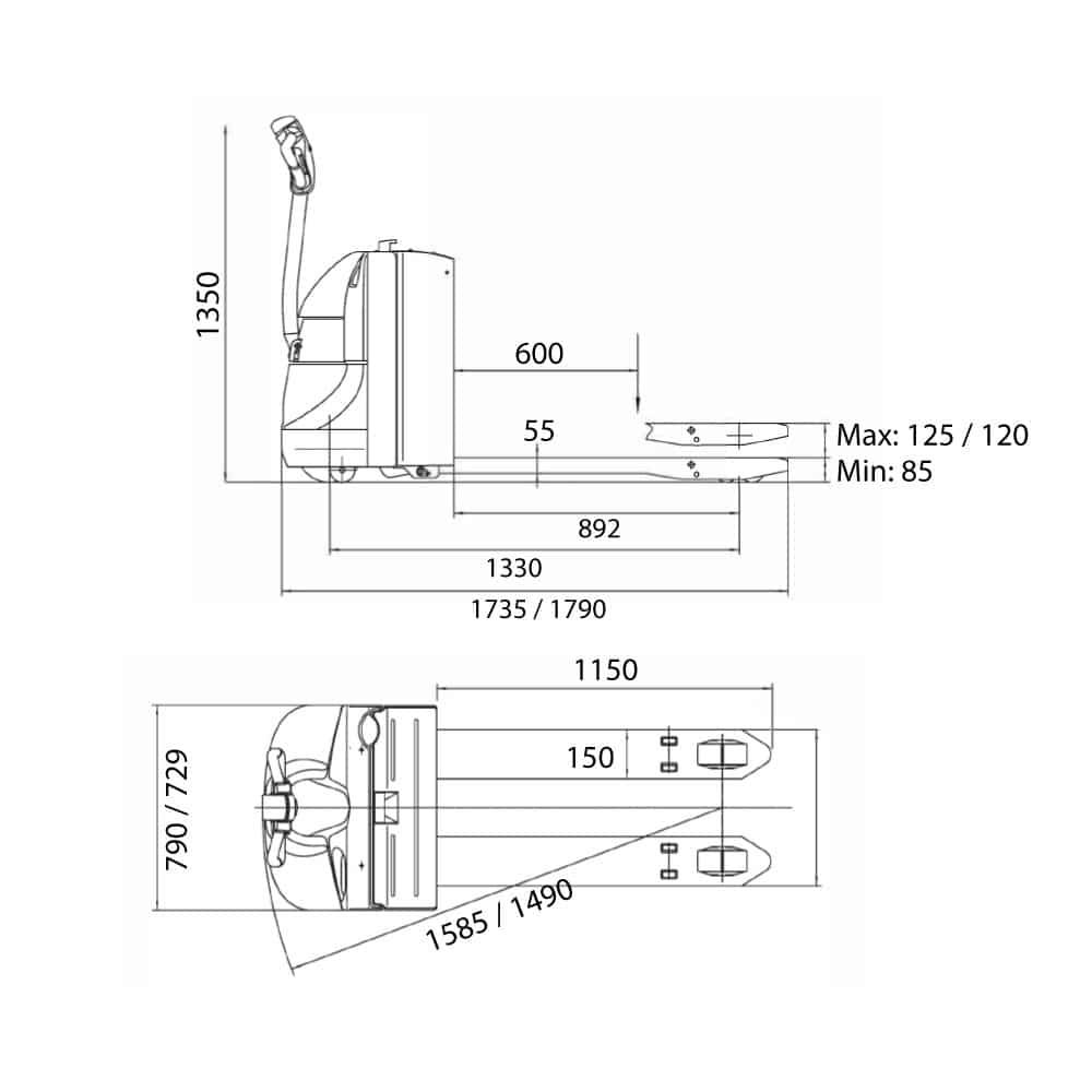 måltegning til elektrisk palleløfter