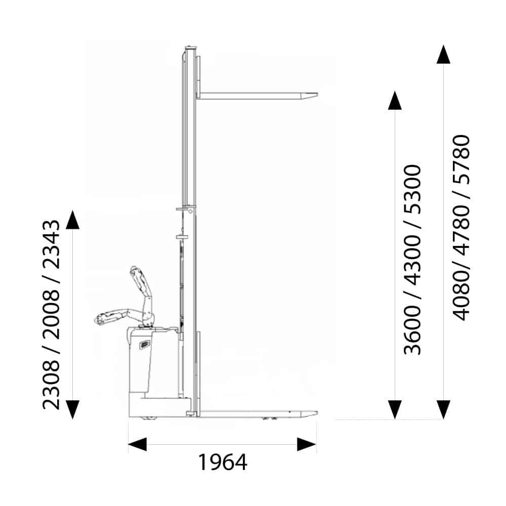 måltegning til elektrisk stabler med friløft
