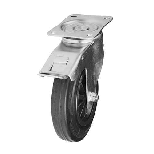 drejeligt hjul med bremse til vogne